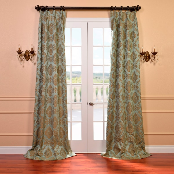 Exclusive Fabrics Amalfi Aqua and Bronze Faux Silk Jacquard French Pleated Curtains