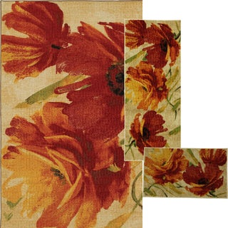 Flamboyant Orange 3-piece Rug Set