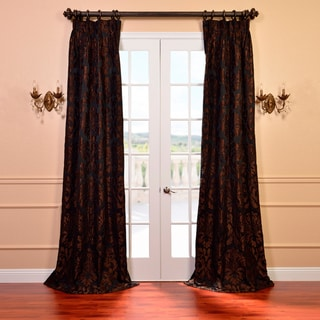 Astoria Black and Cognac Faux Silk Jacquard French Pleated Curtains