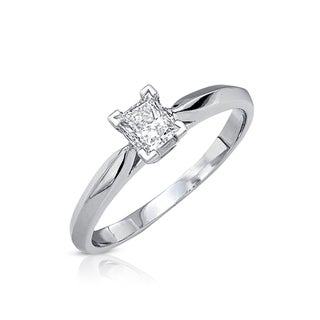 Victoria Kay 14k Gold 3/8ct TDW Certified Diamond Solitaire Engagement Ring (G-H, SI3)