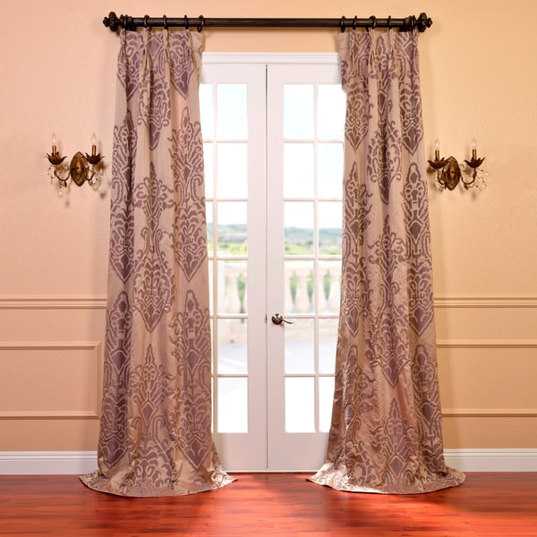 Exclusive Fabrics Minerva Taupe and Plum Faux Silk Jacquard French Pleated Curtains