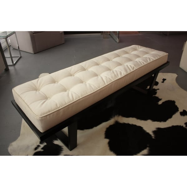Decenni Custom Furniture Off-white Velvet Upholstered Bench