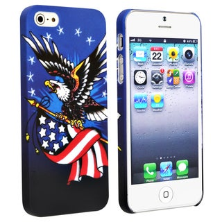 BasAcc Blue/ US Flag Snap-on Rubber Coated Case for Apple� iPhone 5