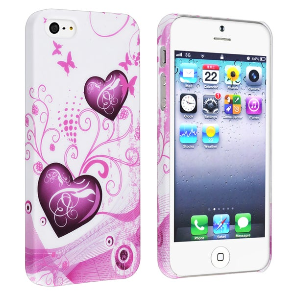 BasAcc White/ Pink Snap-on Rubber Coated Case for Apple® iPhone 5