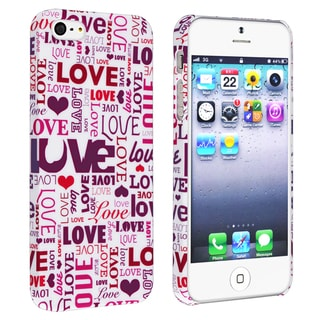 BasAcc Pink Love Words Snap-on Rubber Coated Case for Apple� iPhone 5
