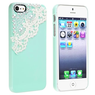 BasAcc Mint Green with Lace Pearl Snap-on Case for Apple� iPhone 5