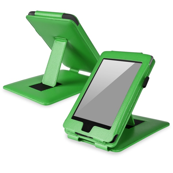 BasAcc Green Leather Case with Stand for Amazon Kindle Paperwhite