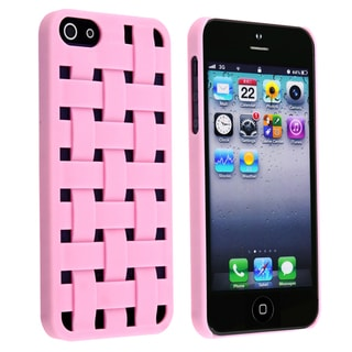 BasAcc Light Pink Criss Cross Rubber Coated Case for Apple� iPhone 5