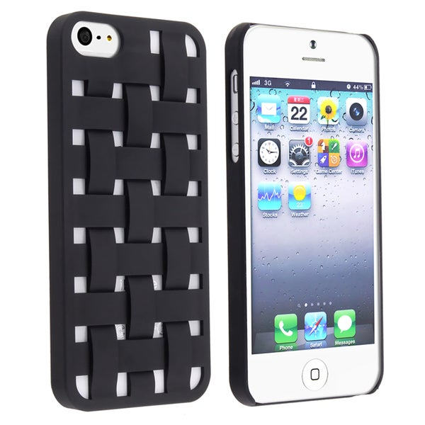 INSTEN Black Criss Cross Rubber Coated Phone Case Cover for Apple iPhone 5/ 5S