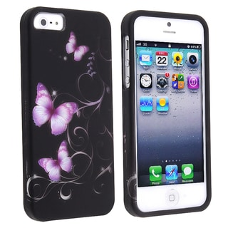 BasAcc Black/ Purple Butterfly Snap-on Case for Apple� iPhone 5