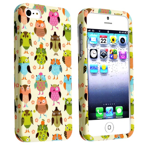 INSTEN Fancy Owls Snap-on Rubber Coated Phone Case Cover for Apple iPhone 5/ 5S