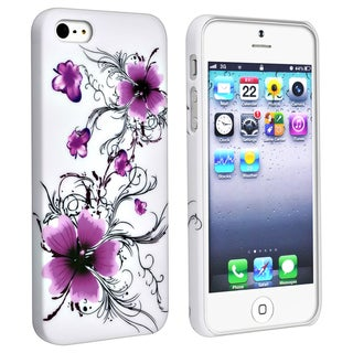 BasAcc White/ Flower Snap-on Rubber Coated Case for Apple� iPhone 5