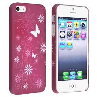 BasAcc Warm Red/ Flower Snap-on Rubber Coated Case for Apple� iPhone 5/ 5S