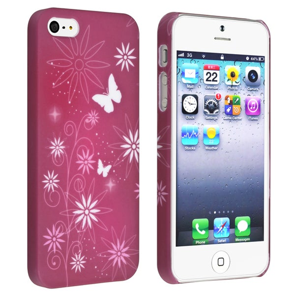 BasAcc Warm Red/ Flower Snap-on Rubber Coated Case for Apple® iPhone 5/ 5S