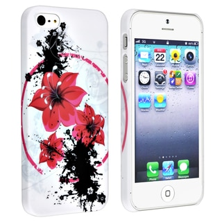 BasAcc White/ Flower Snap-on Rubber Coated Case for Apple� iPhone 5/ 5S