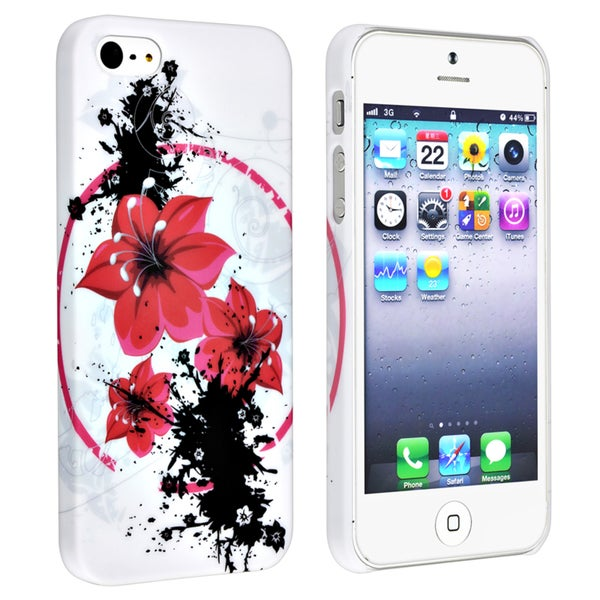 BasAcc White/ Flower Snap-on Rubber Coated Case for Apple® iPhone 5/ 5S