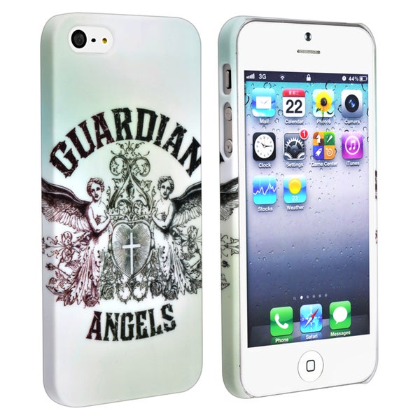 INSTEN White/ Angels Snap-on Rubber Coated Phone Case Cover for Apple iPhone 5