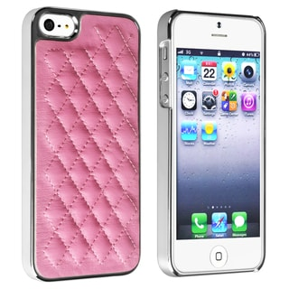 BasAcc Pink Leather/ Silver Side Snap-on Case for Apple� iPhone 5