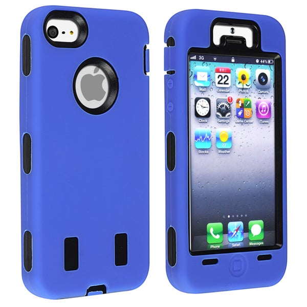 INSTEN Black Hard Plastic/ Blue Skin Hybrid Phone Case Cover for Apple iPhone 5/ 5S