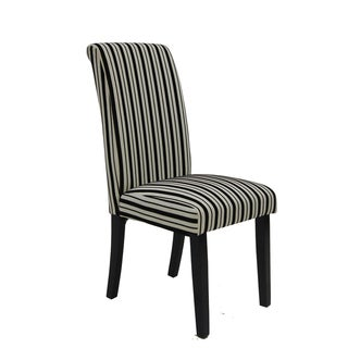 Black and White Tuxedo Stripes Side Chairs (Set of 2)