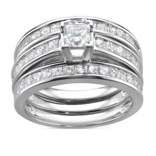 14k Gold 2 3/4ct TDW Princess-cut Diamond 3-piece Bridal Ring Set (I-J, I1-I2)