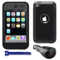 OtterBox Defender iPod Touch 4G Black Protector Case / 2000mAh Car Charger / Velcro Tie