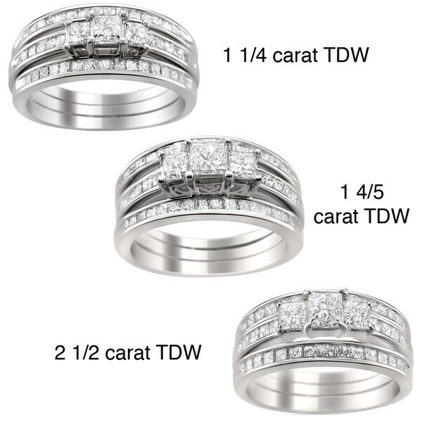 Montebello 14k Gold 1 1/4 to 2 1/2ct TDW Diamond 3-piece Bridal Ring Set (H-I, I1-I2)