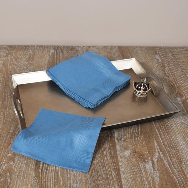 Saro Indigo Blue Satin Handkerchief (Set of 12)