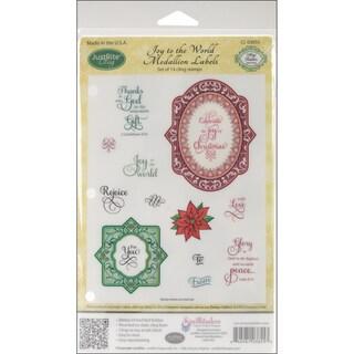 JustRite Stampers Cling Stamp Set-Joy To The World Medallion Labels 14pc