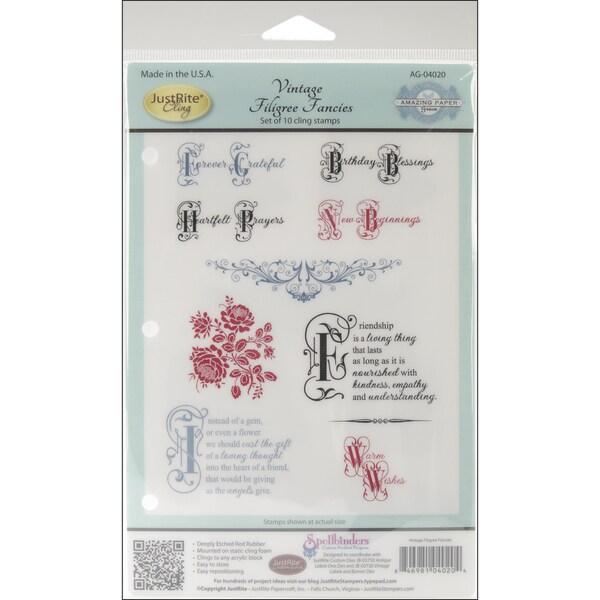 JustRite Stampers Cling Stamp Set-Vintage Filigree Fancies 10pc
