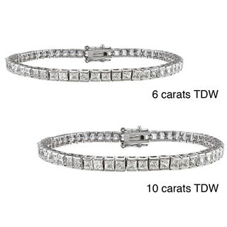 14k Gold 6 to 10ct TDW Princess-cut Diamond Bracelet  (G-H, VS1-VS2)