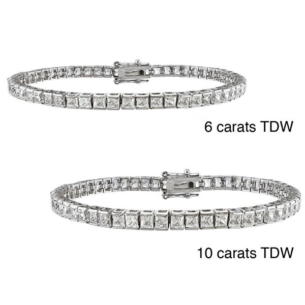 Montebello 14k Gold 6 to 10ct TDW Princess-cut Diamond Bracelet (H-I, VS2)