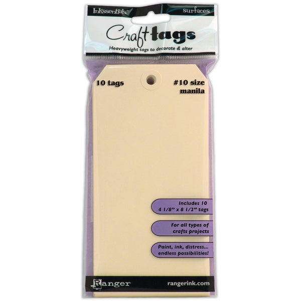 "Inkssentials Manila Craft Tags #10 10/Pkg-4-1/8""X8-1/2"""