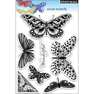 "Penny Black Clear Stamps 5""X7.5"" Sheet-Social Butterfly"