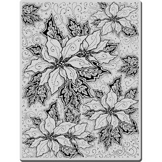 Stampendous Christmas Cling Rubber Stamp-Poinsettia Background