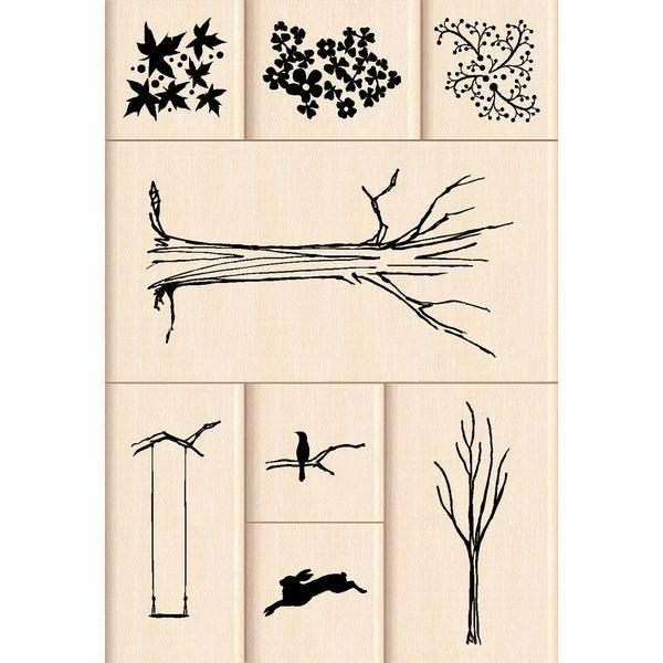"Inkadinkado Mounted Rubber Stamp-My Tree 8pc 4.75""X4.5"""