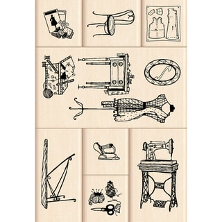 Inkadinkado Mounted Rubber Stamp-Sewing Room 8pc 4.75