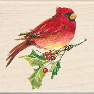 "Inkadinkado Christmas Mounted Rubber Stamp -Cardinal 2.75""X2.75"""