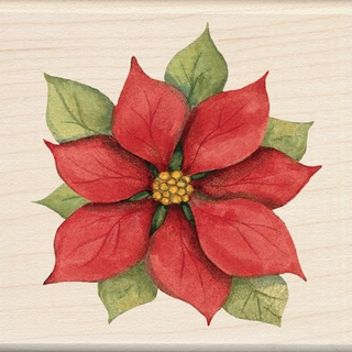 "Inkadinkado Christmas Mounted Rubber Stamp -Poinsettia 3""X3"""