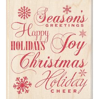 "Inkadinkado Christmas Mounted Rubber Stamp-Holiday Words 3.5""X4"""