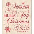 "Inkadinkado Christmas Mounted Rubber Stamp-Holiday Words 3.5""X4"""