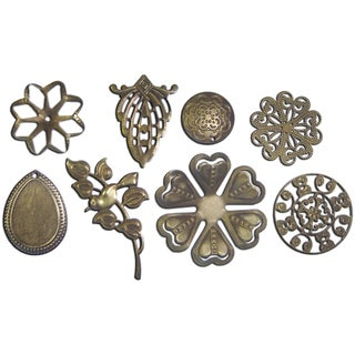 Boxed Filigree Embellishment Assortment 80 Pieces-Old Brass 3 (8 Designs/10 Each)