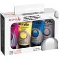 Reeves Acrylic Fluorescent Paint Set-Primary 75ml Tubes 4/Pkg