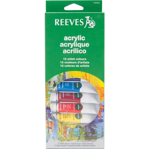 Reeves Acrylic Paints 10ml 12/Pkg-Assorted Colors