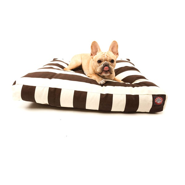 Majestic Pet Chocolate Vertical Stripe Rectangle Pet Bed