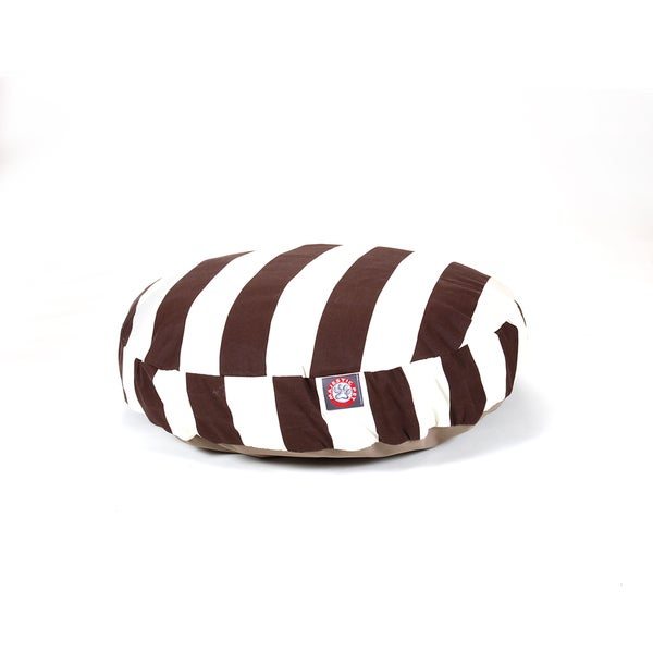 Majestic Pet Chocolate Vertical Stripe Round Pet Bed