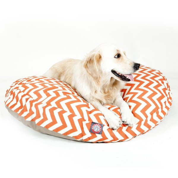 Majestic Pet Burnt Orange Chevron Round Pet Bed