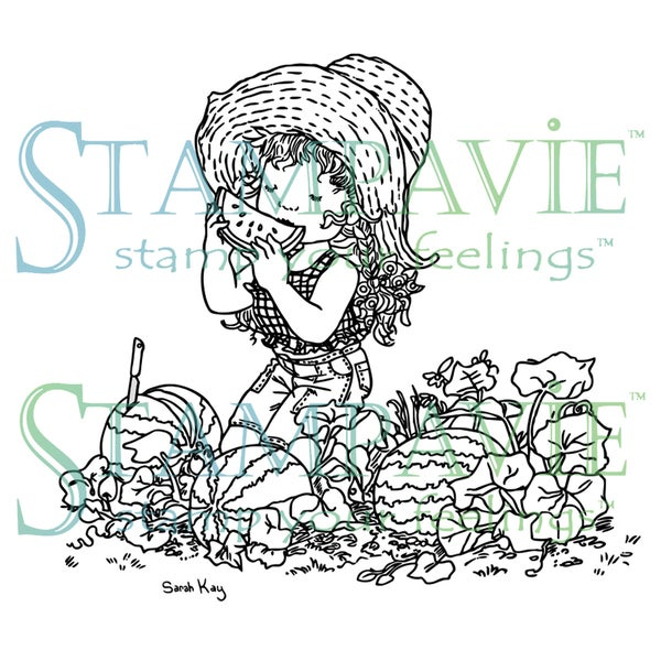 Stampavie Sarah Kay Clear Stamp-Josephine In The Watermelon Patch