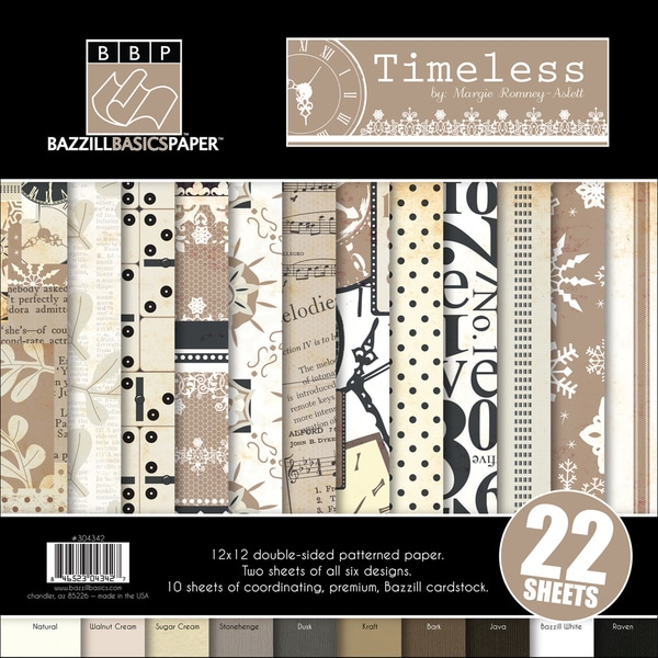 "Timeless Multi-Pack Paper 12""X12"" 22/Sheets-6 Dbl-Sided Designs/2ea + 10 Cardstocks"