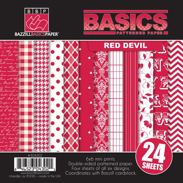 "Basics/Red Devil Multi-Pack Paper 6""X6"" 24/Sheets-6 Double-Sided Designs/4 Each"